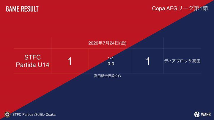 【U-14】本日のCopa AFG 第一節の結果です。
